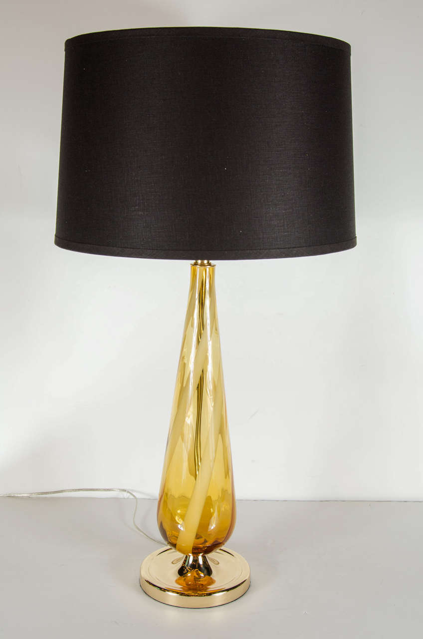 Sophisticated mid century modern murano glass teardrop amber table mid century modernist handblown murano glass table lamp with an accentuated teardrop form featuring amber aloadofball