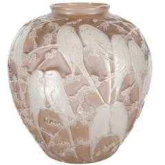 Exquisite Art Deco Molded Glass Parrot Vase by The Phoenix Glass Co.
