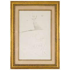 Original Sketch of a Woman with Sparrows by Salvador Dali