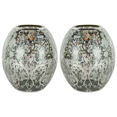 Elegant Pair of Art Deco Sterling Silver Overlay Vases in Smoked Glass