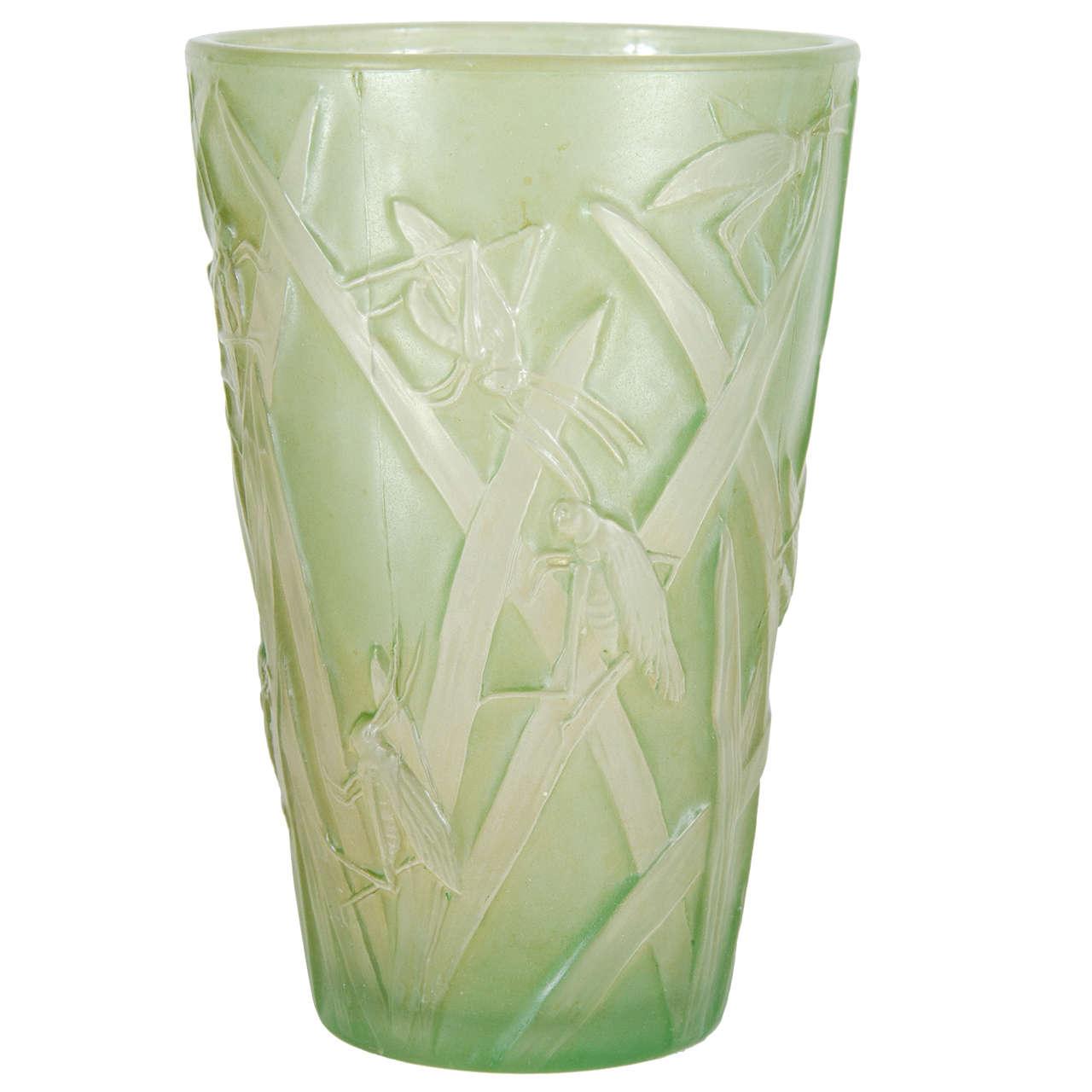 Rare art deco pale celadon grasshopper vase by the phoenix glass rare art deco pale celadon grasshopper vase by the phoenix glass company for sale reviewsmspy