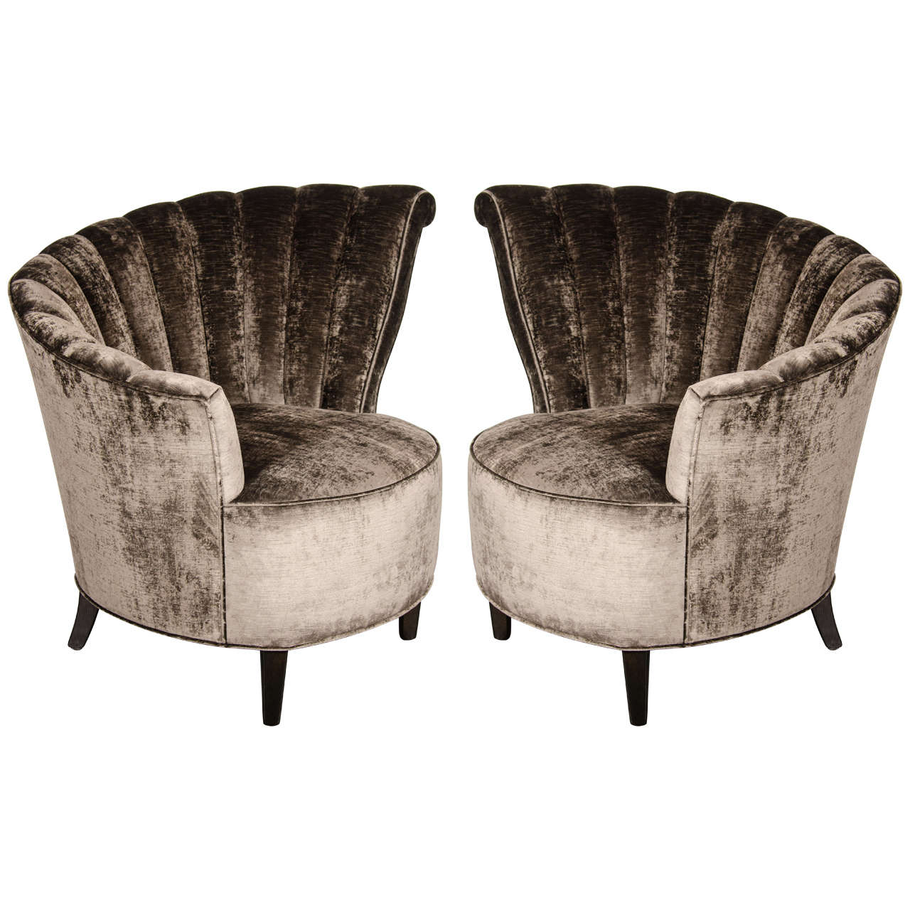 Exceptional Glamorous Pair Of 1940u0027s Asymmetrical Fan Back Chairs In Smoked Velvet 1