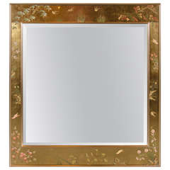 La Barge Chinoiserie Reverse Hand-Painted Gilt Mirror Signed by Harriet Jansma