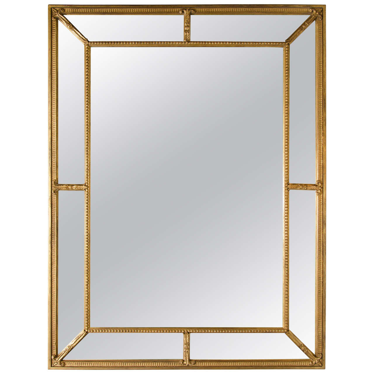 Mid-Century Modern Gilt Mirror with Inset Beveled Panels 1
