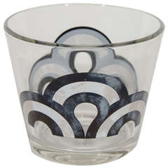 Vintage Ice Bucket or Cooler in Blown Glass with Geometric Design