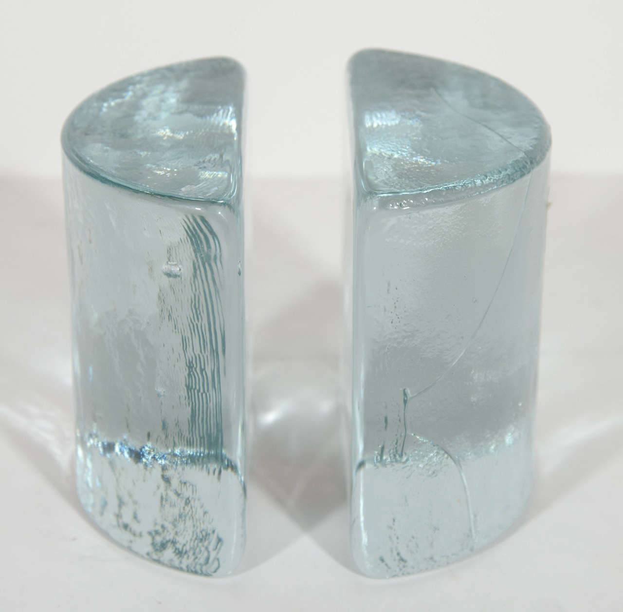 Pair of Modernist Hand Blown Ice Glass Bookends by Blenko at 1stdibs