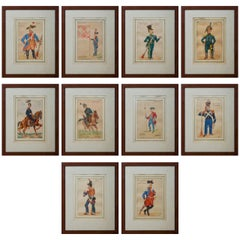 Ten 19th Century French Original Soldier Paintings