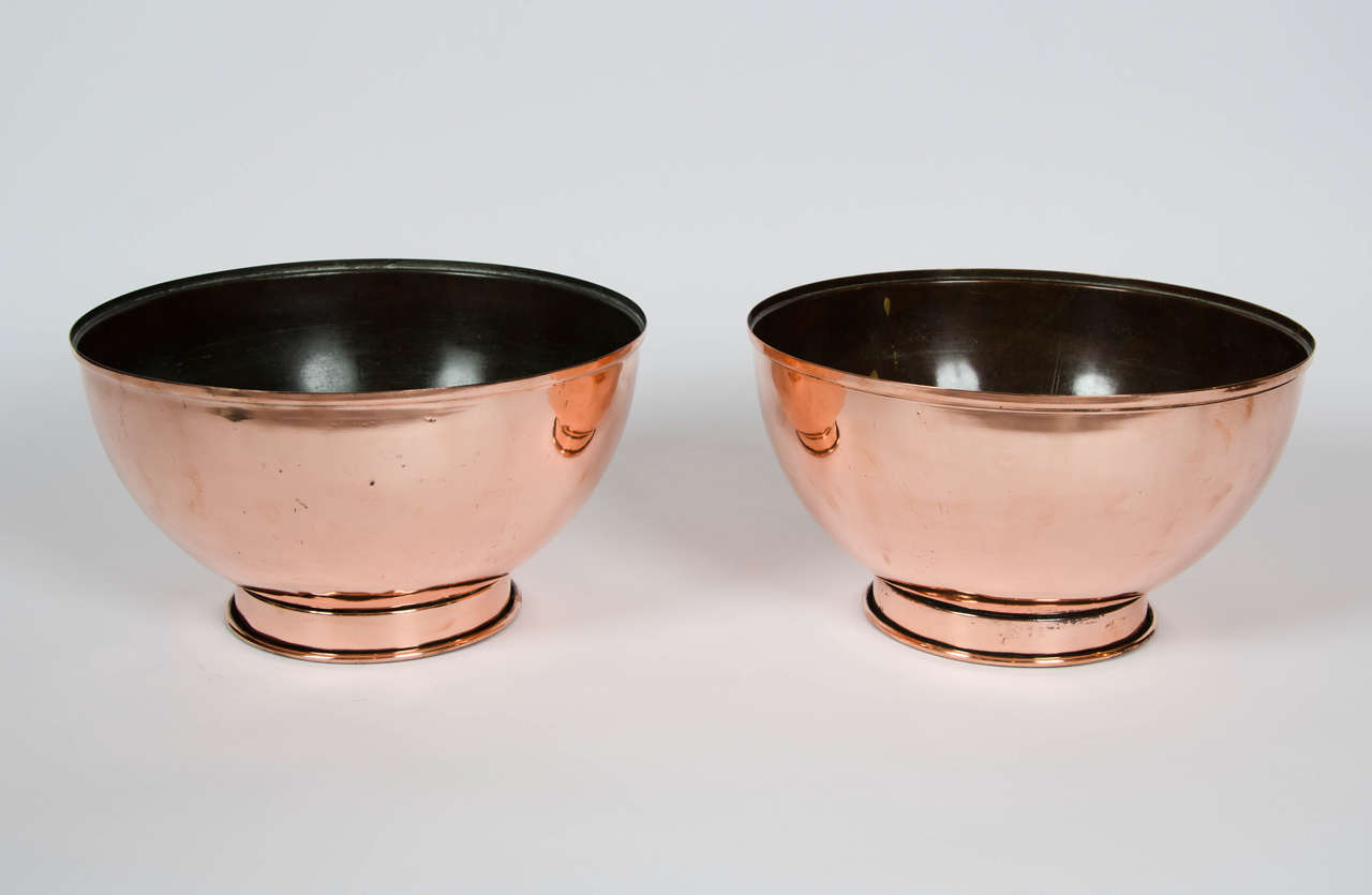 Pair of Early 19th Century Large Copper Bowls 2
