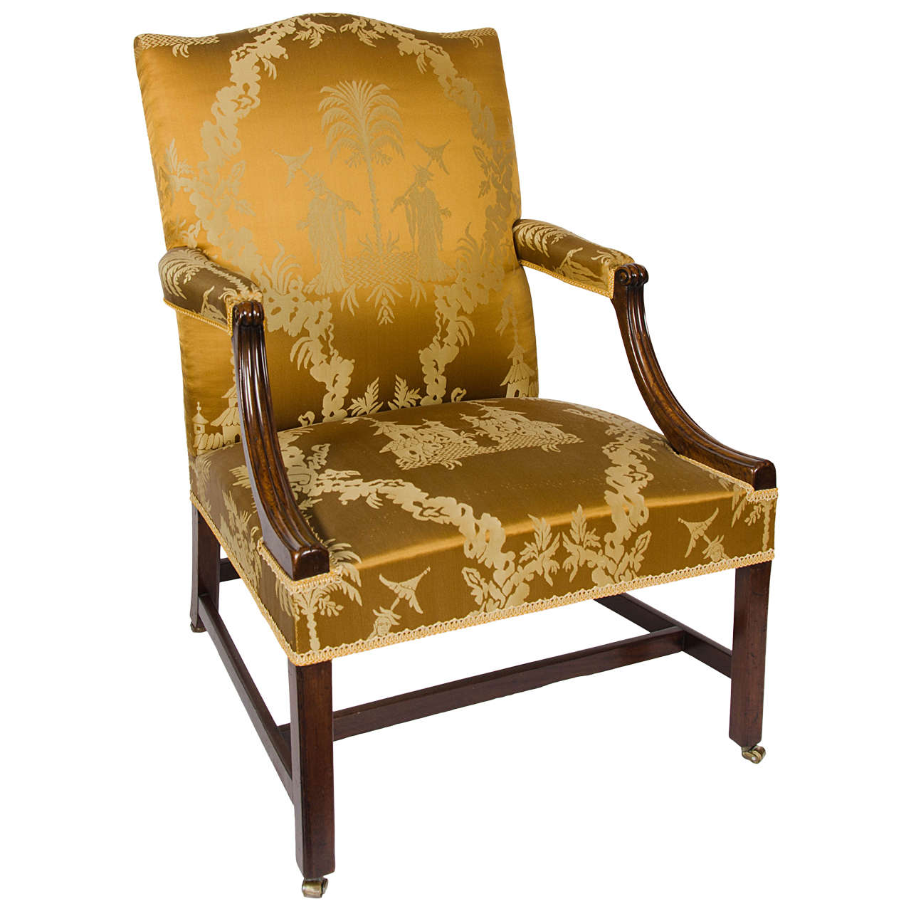 """18th Century Mahogany """"Gainsborough"""" Chair with Chinoiserie Silk on Castors"""