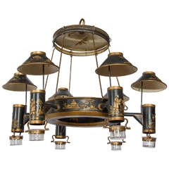 Early 19th Century French Chinoiserie Painted Toleware Chandelier