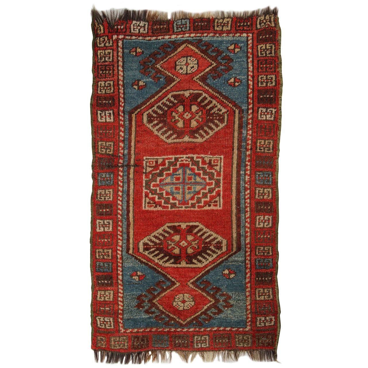 Turkish Yastik Rug: Turkish Yastik Rug, Red And Blue For Sale At 1stdibs