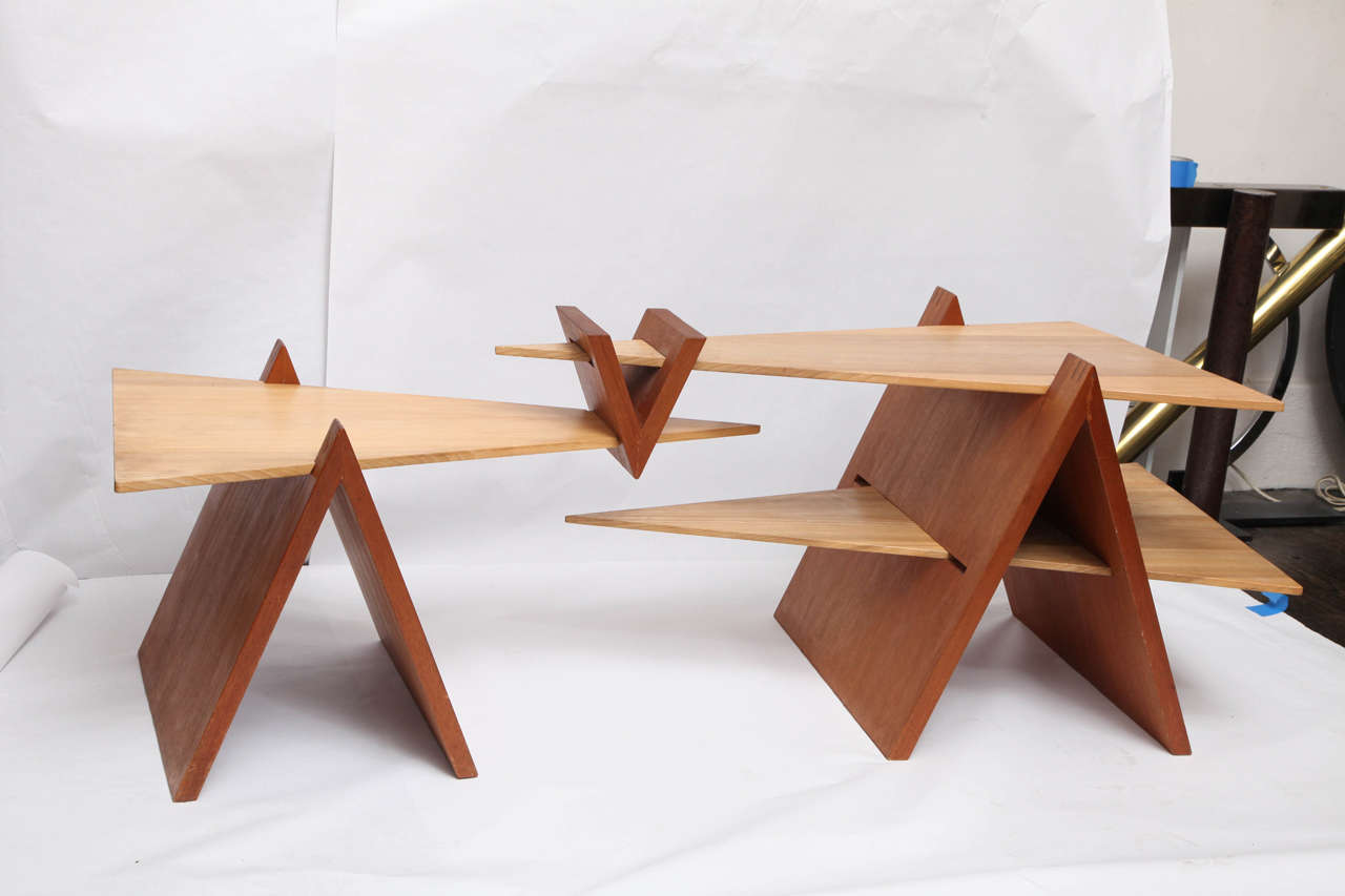 A 1970s constructivist wood puzzle table.