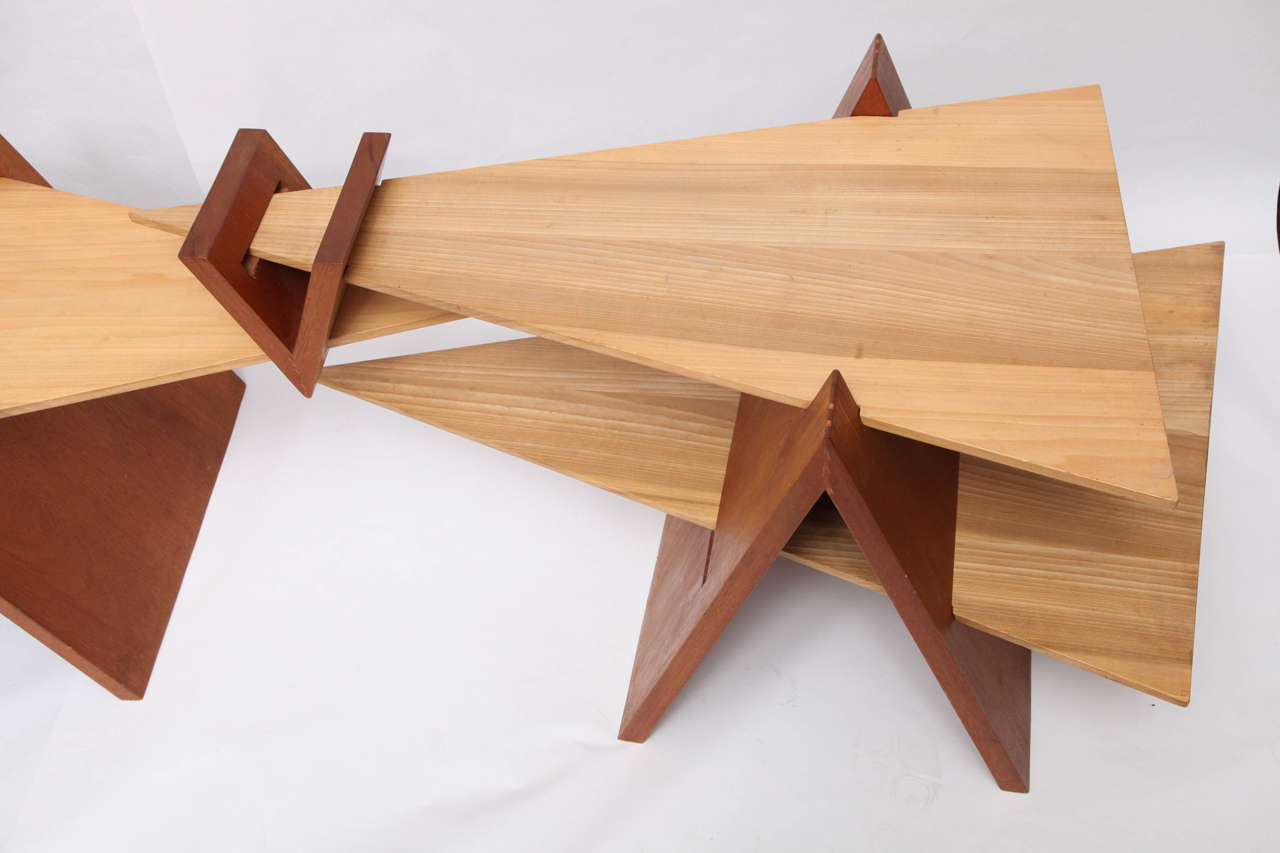 American 1970s Constructivist Wood Puzzle Table For Sale