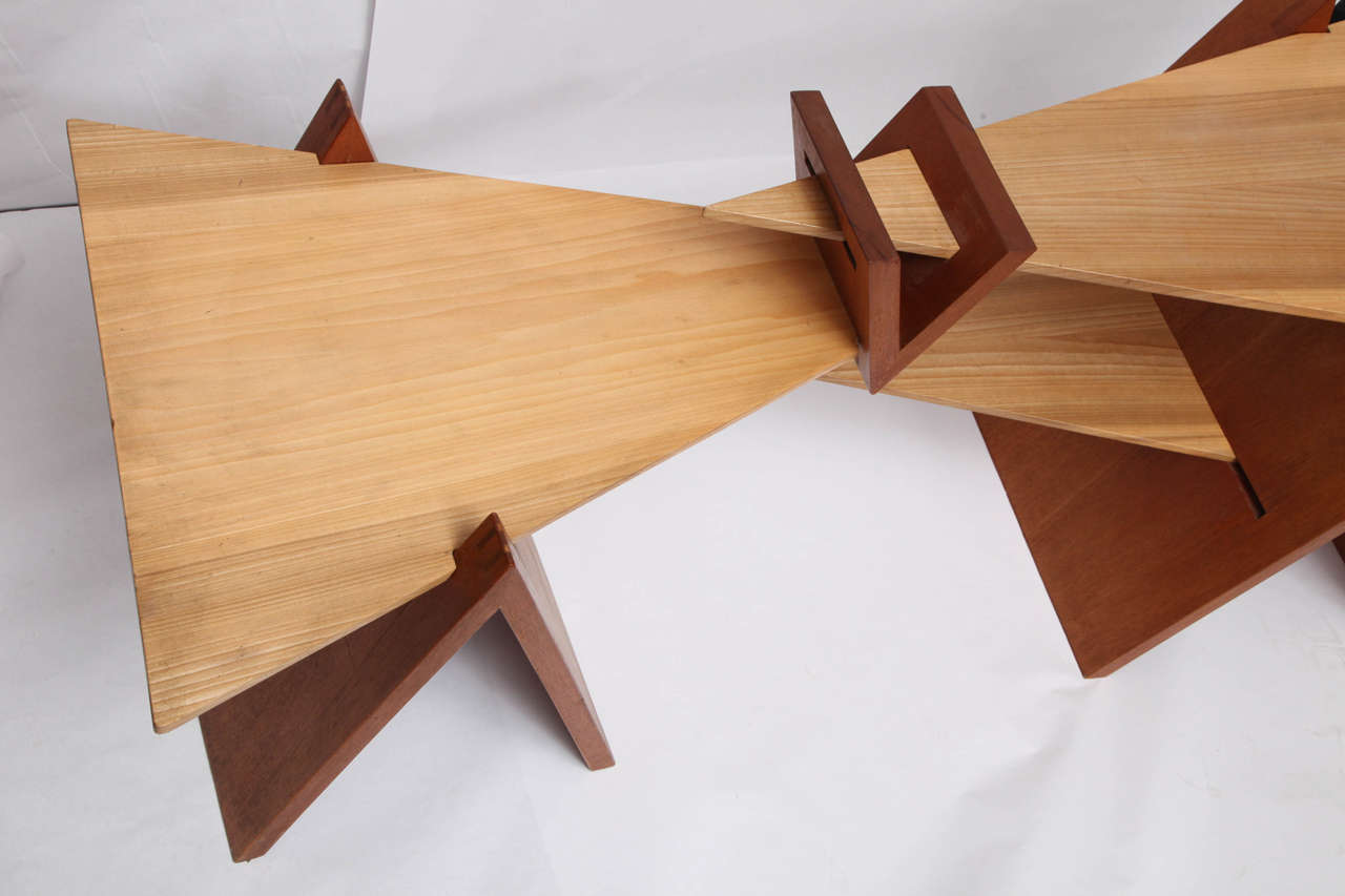 Hand-Crafted 1970s Constructivist Wood Puzzle Table For Sale