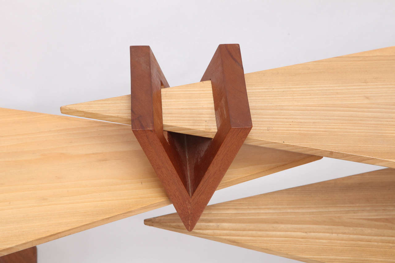1970s Constructivist Wood Puzzle Table For Sale 2