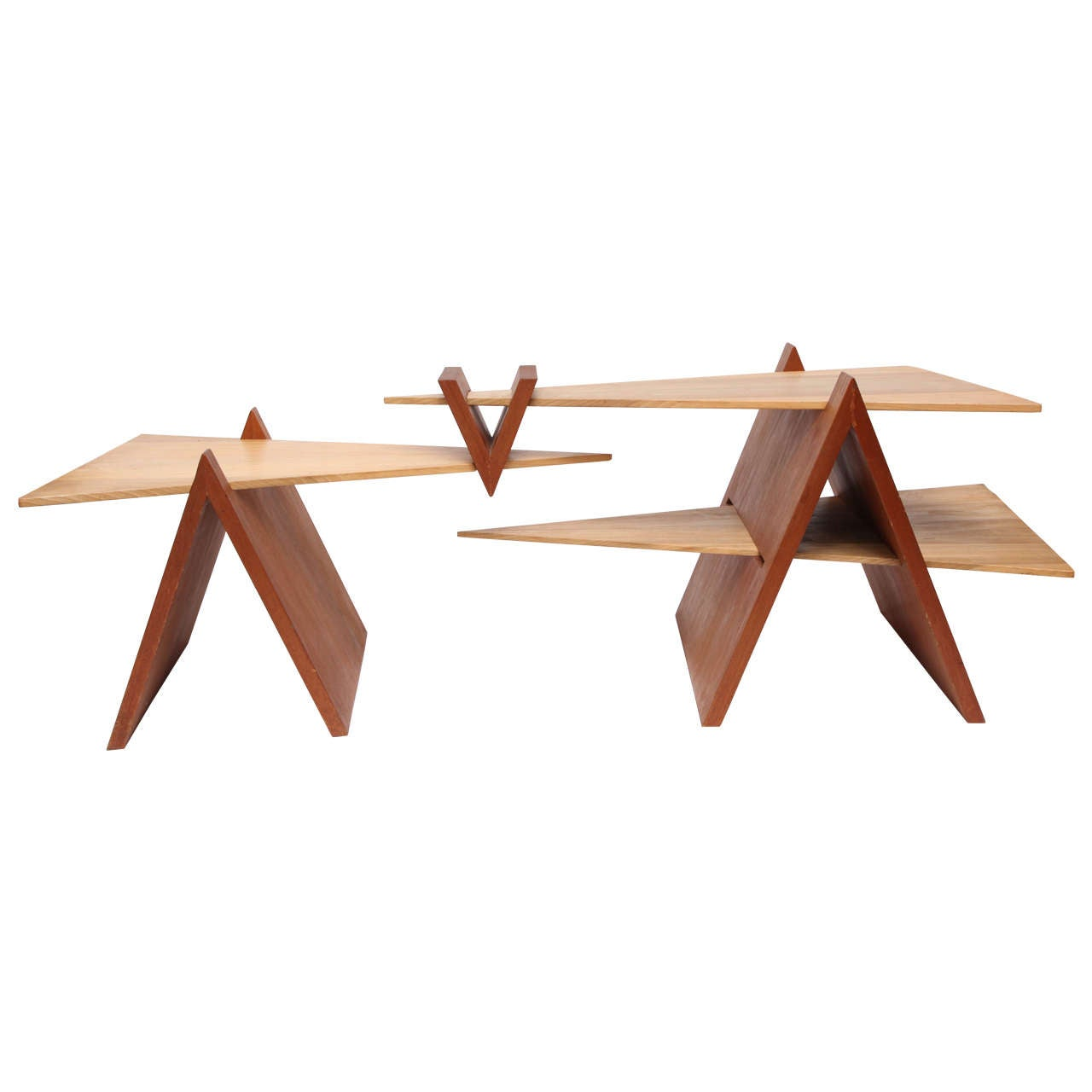 1970s Constructivist Wood Puzzle Table For Sale