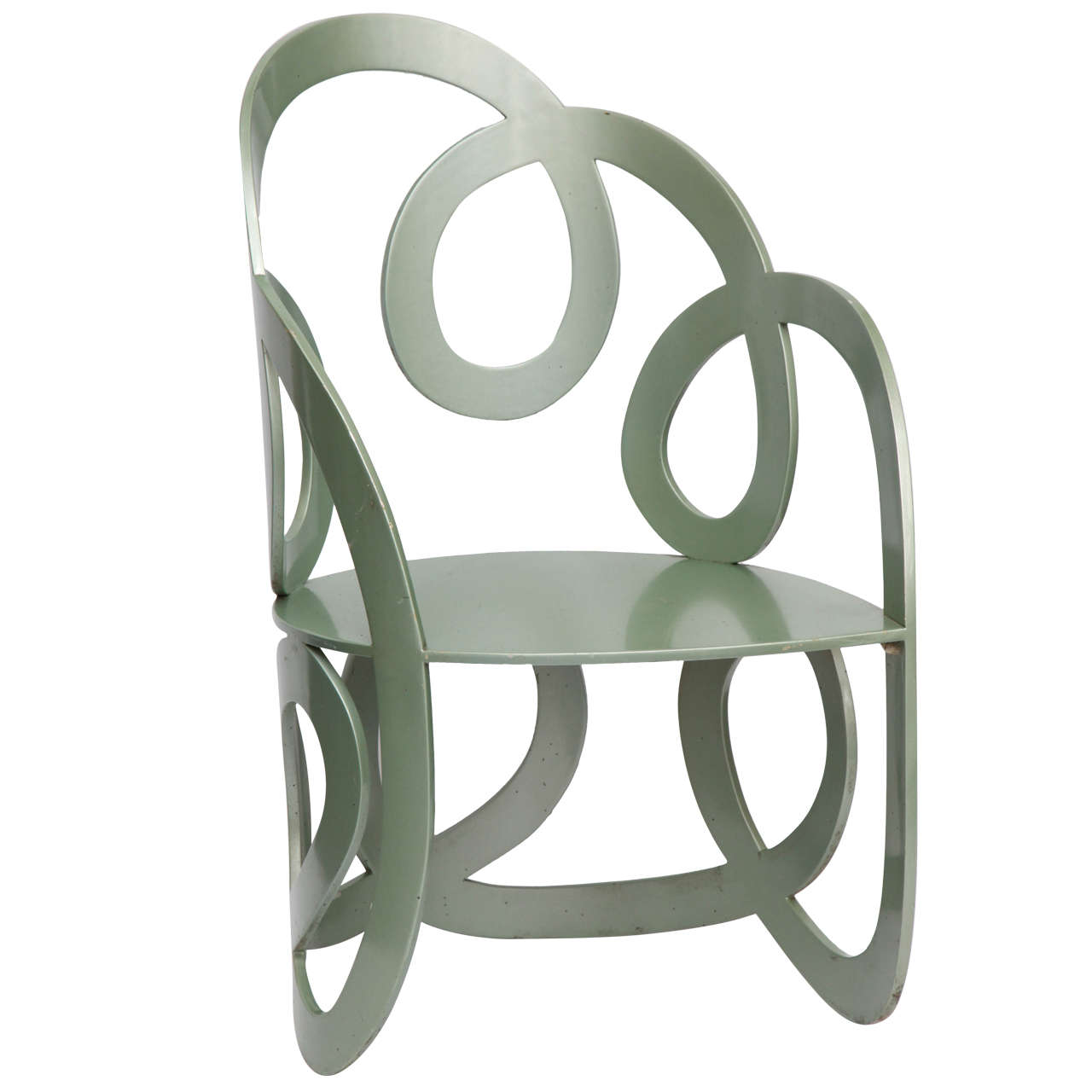1980s Sculptural Chair Crafted of Painted Metal