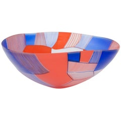 Landscape Study Blue Over Red bowl, art glass centrepiece by Kate Jones
