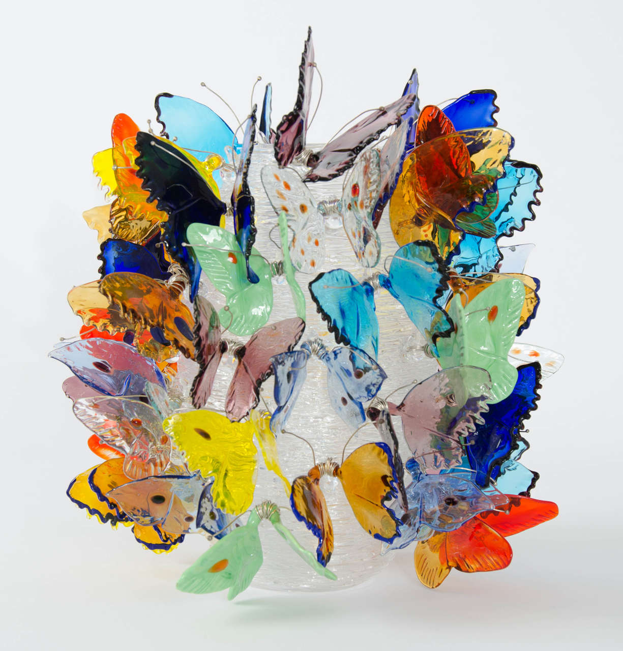 Hand-Crafted Farfalle, a Limited Edition Mixed Color Butterfly Adorned Vase by Ted Muehling For Sale
