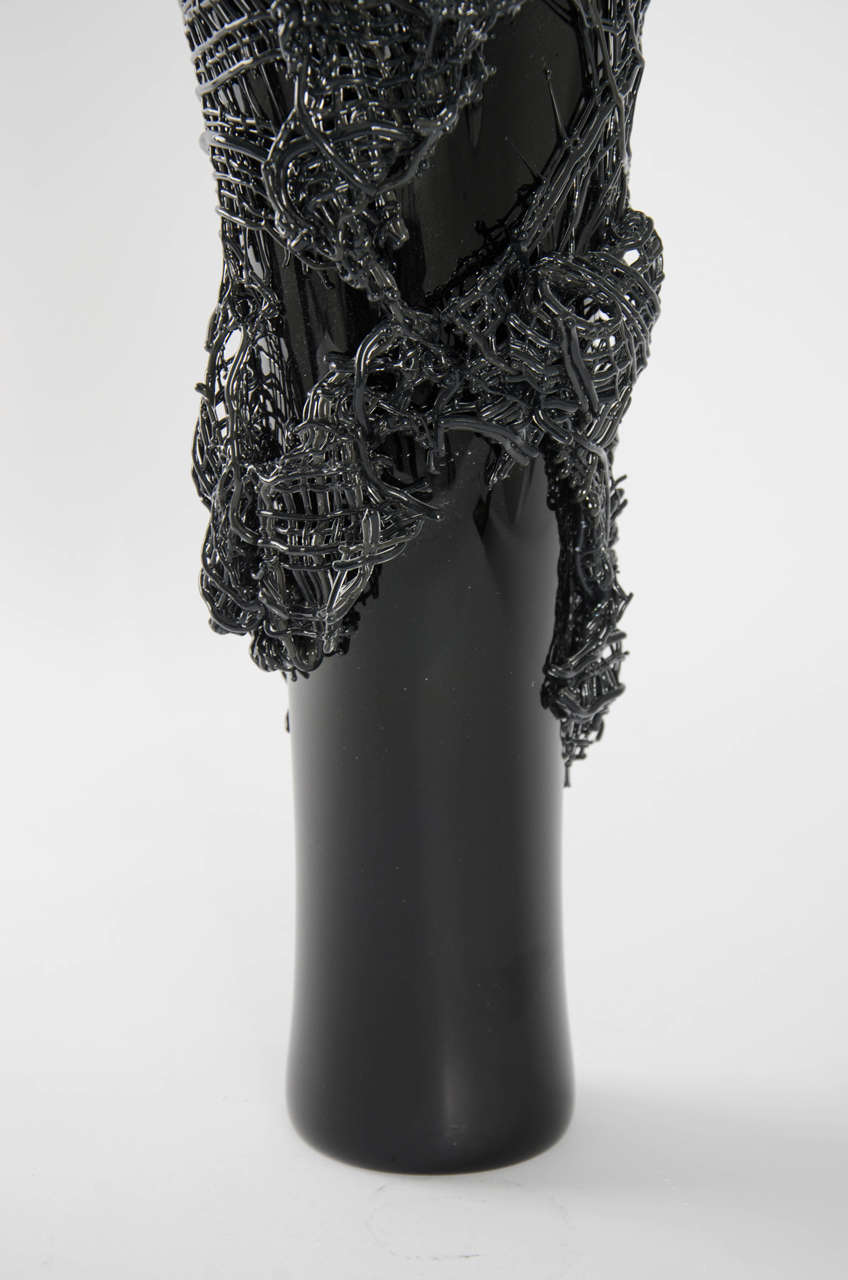 Modern Odysseus, a unique black hand-blown glass sculpture by Cathryn Shilling For Sale