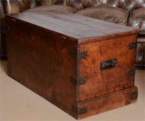 19th Century English Faux Grained Painted Trunk thumbnail 2