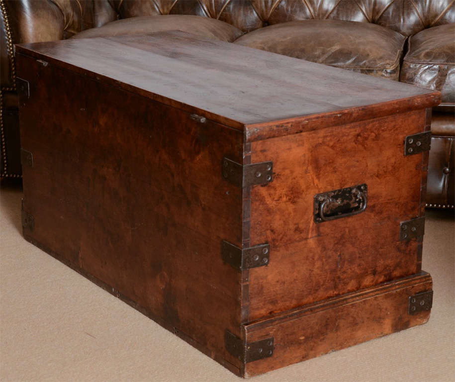 19th Century English Faux Grained Painted Trunk image 2