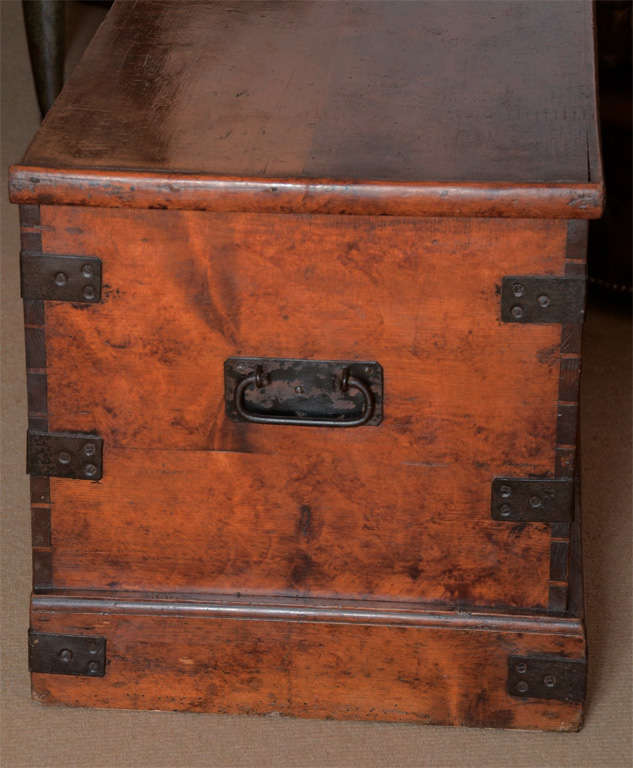19th Century English Faux Grained Painted Trunk image 3