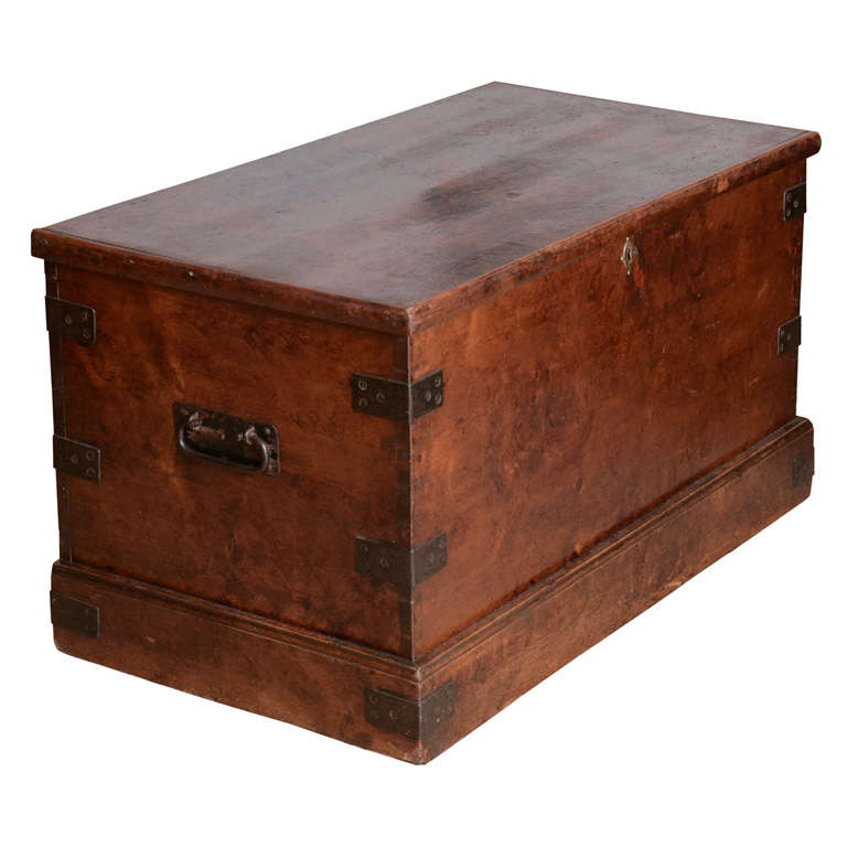 19th Century English Faux Grained Painted Trunk