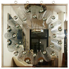 Spectacular Large Bubble Mirror with Engraved Wave Design