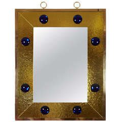 Spectacular Rectangular Mirror with Gold Leaf Effect Frame by Andre Hayat