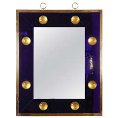 Spectacular Rectangular Mirror with Deep Blue Effect Frame by Andre Hayat