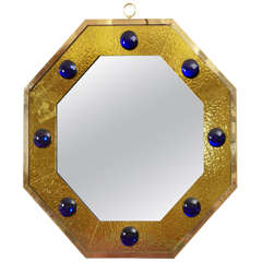 Spectacular Octogonal Mirror with Gold Leaf Effect Frame by Andre Hayat