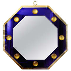Spectacular Octogonal Mirror with Deep Blue Effect Frame by Andre Hayat
