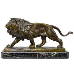 Bronze Lion Signed Vidal