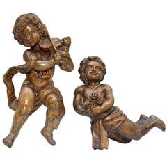 Pair Of Carved Wood Angels