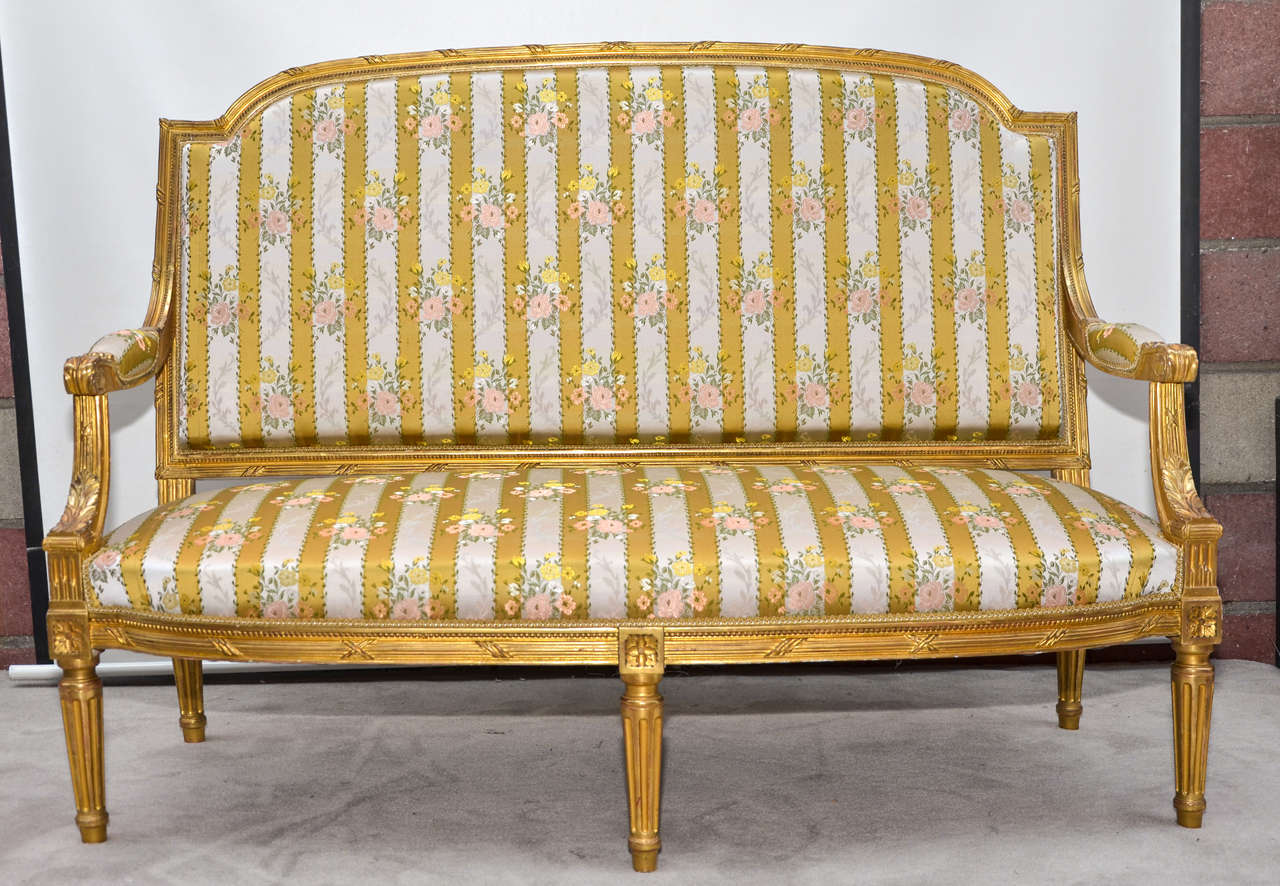 Pair of armchairs in gilded wood louis xvi style at 1stdibs for Salon 3 pieces