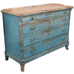 Bright blue Swedish commode