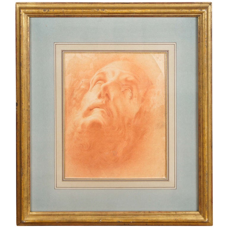 Italian Baroque Period  Drawing of the Head of John The Baptist For Sale