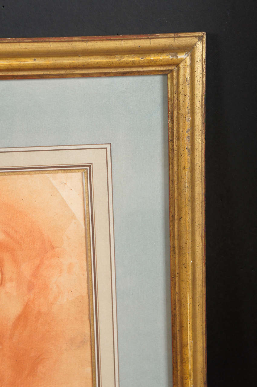 Italian Baroque Period  Drawing of the Head of John The Baptist In Good Condition For Sale In Hudson, NY