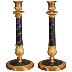 Charles X Gilt Bronze and Inlaid Lacquer Candle Sticks