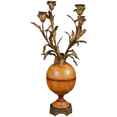 Unusual Colored Marble and Gilded Bronze Single Candelabra