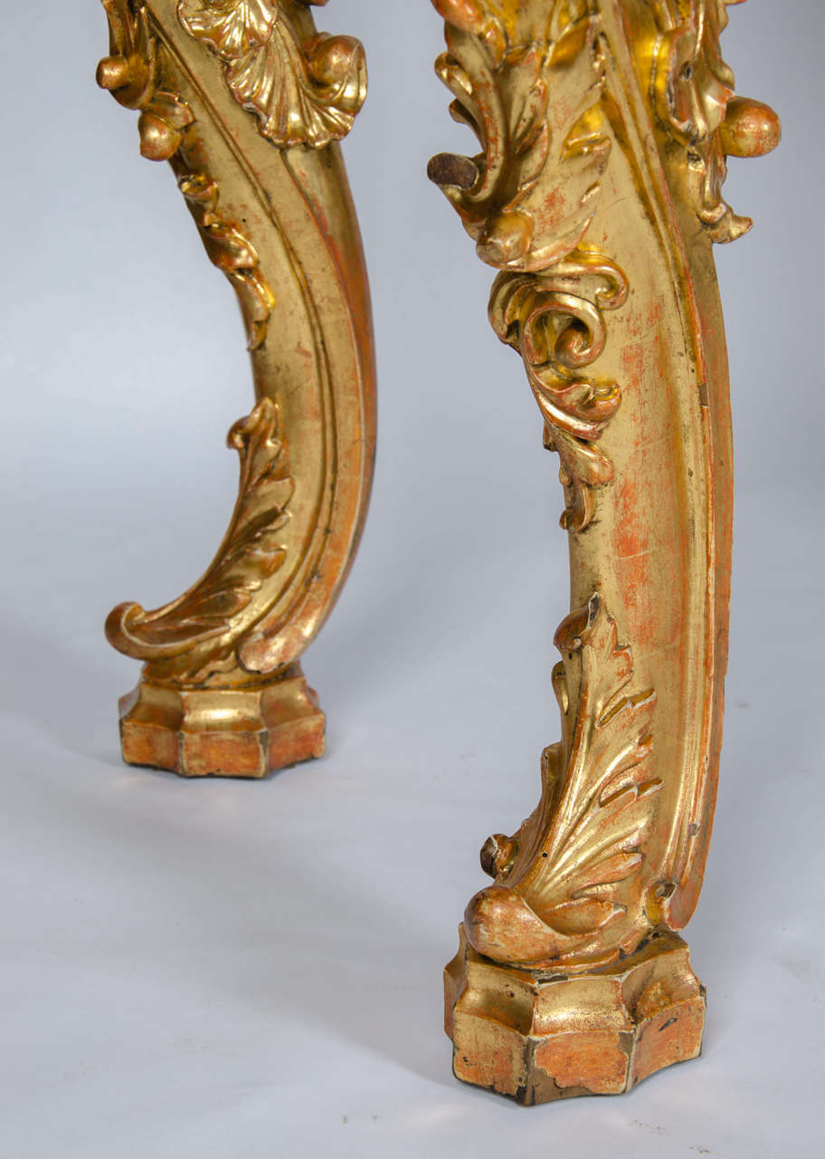 Burnished 19th Century Rococo Revival Console Table For Sale