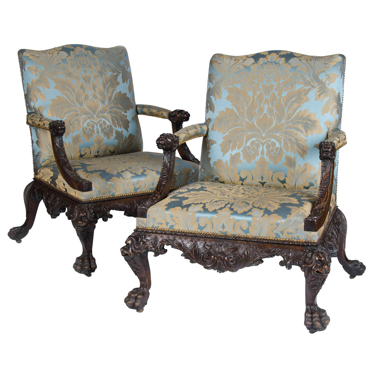 Superb Pair Of Carved Mahogany Open Arm Chairs In The Georgian Style For
