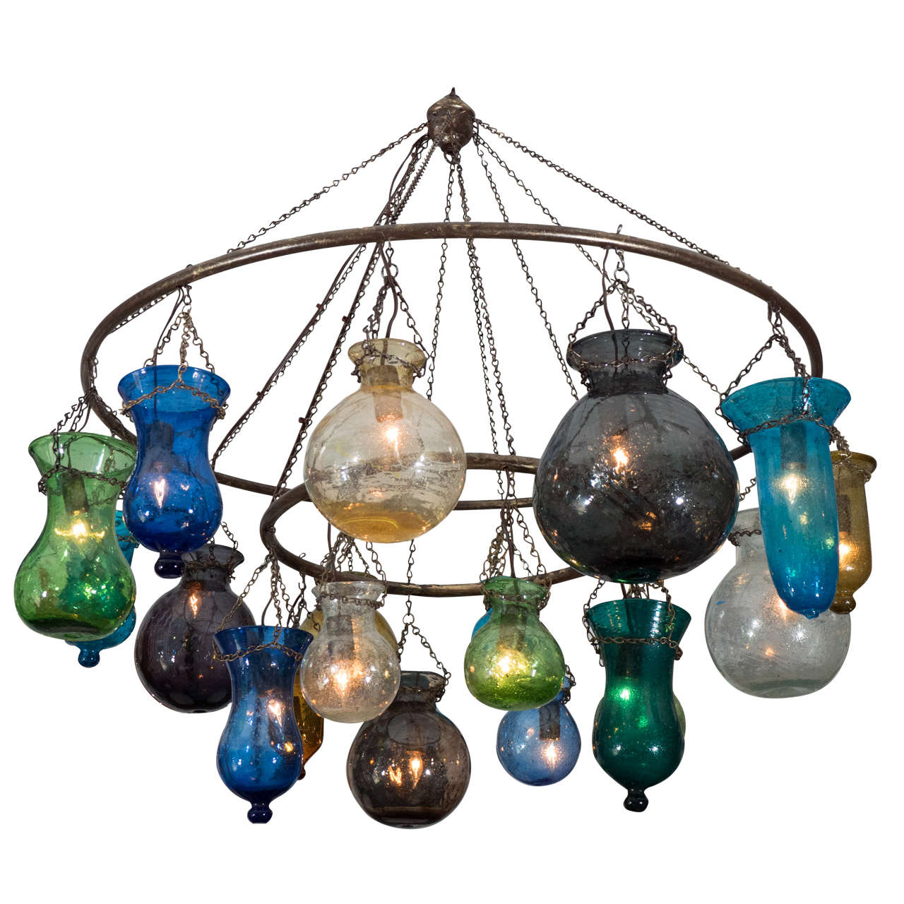 handblown multi colored glass chandelier at 1stdibs