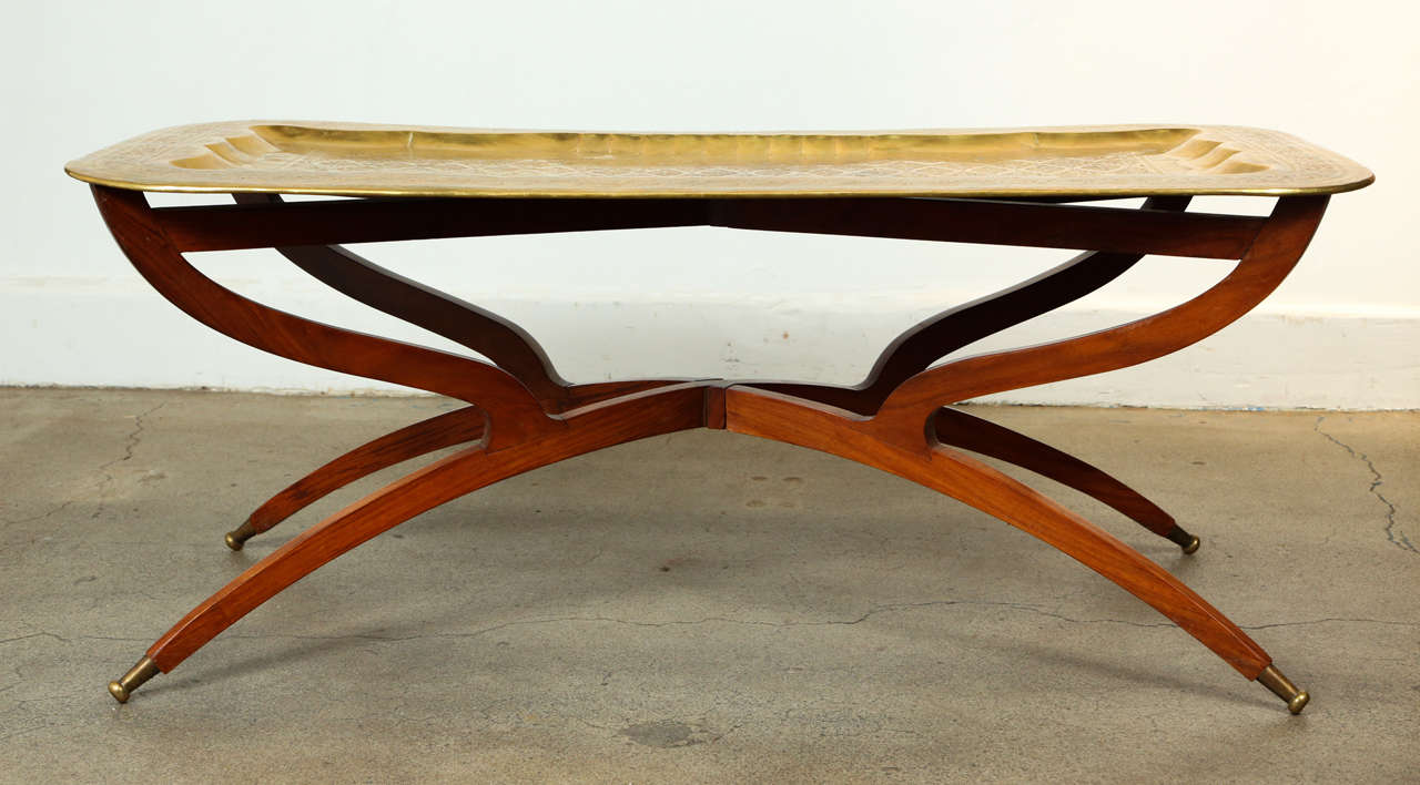 Moroccan Rectangular Brass Tray Coffee Table At 1stdibs