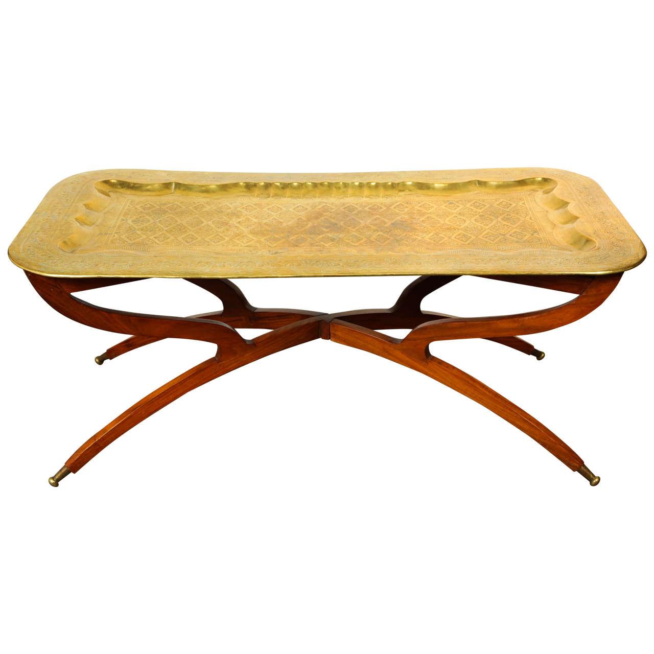 Moroccan Rectangular Brass Tray Coffee Table 1