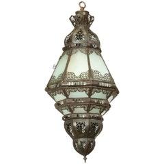 Moroccan Moorish Metal Filigree Designs and Milky Glass Pendant