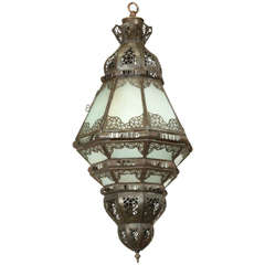 Moroccan Moorish Metal Filigree Designs and Milky Glass Pendant