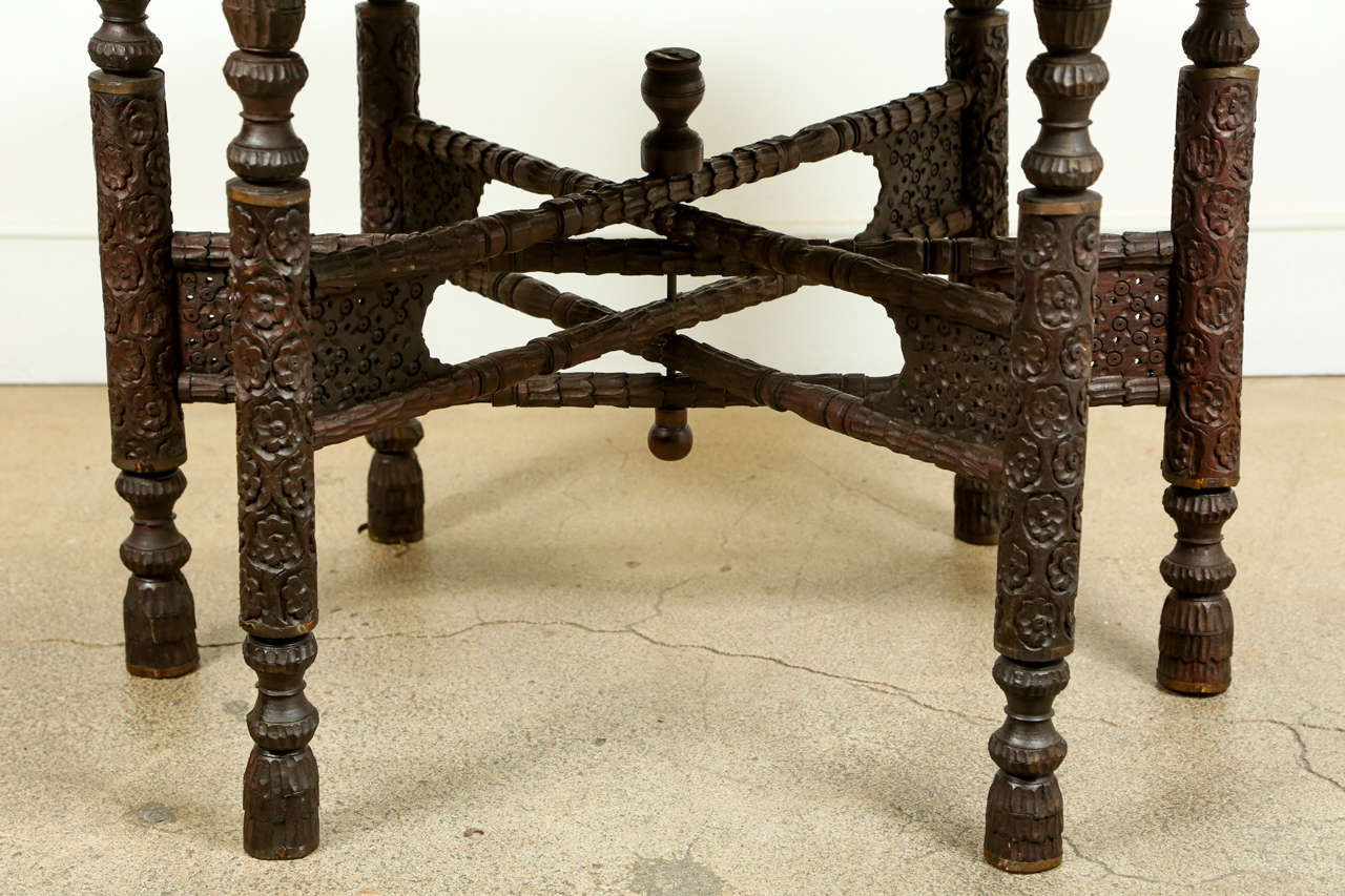 Anglo Raj Anglo Indian Brass Tray Table With Folding Wooden Stand For Sale