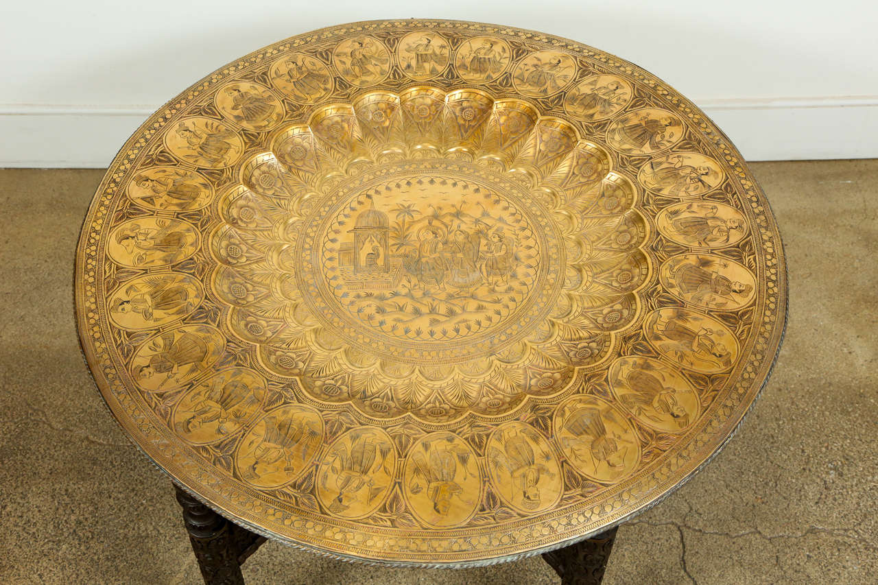 Anglo Indian Brass Tray Table With Folding Wooden Stand At